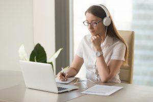 woman taking online classes